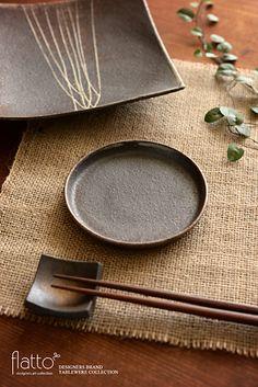 ケーキ皿12cm(茶)/作家「奥田章」/和食器通販セレクトショップ「flatto」