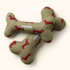 Mutts & Hounds Red Dachshund Linen Squeaky Bone Toy