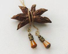 Butterscotch Opal Picasso Glass & Antique Brass, Minimalist Threader Earrings Gold