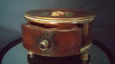 Round Wooden  Jewelry Casket Trinket Box by frankiesfrontdoor