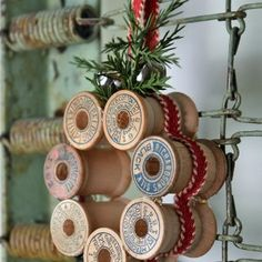 Vintage thread spool mini wreath how-to., DIY and Crafts, Learn how to create mini wreaths from vintage thread spools in this DIY tutorial. Perfect for ornaments, present toppers or home decor. Noel Christmas, Rustic Christmas, Christmas 2019, All Things Christmas, Pallet Christmas, Silver Christmas, Christmas Vacation, Victorian Christmas, Vintage Christmas Decorating