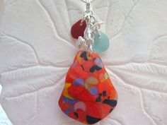 Red Sea Glass Necklace  Rare Orange Beach by TheMysticMermaid