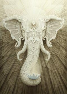 Arte Ganesha, Elephant Love, Elephant Art, White Elephant, Fantasy Kunst, Fantasy Art, Wow Art, Visionary Art, Geometric Tattoos
