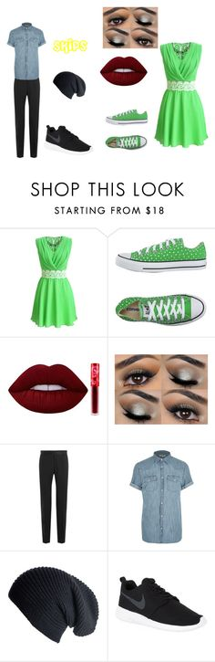"""Skips 10"" by shadow-killer-101 on Polyvore featuring Converse, Lime Crime, Dolce&Gabbana, River Island, Black and NIKE"