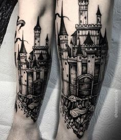 Terrific Castle Tattoo on Arm. This one is perhaps the most terrifying castle tattoo design on the list and I bet you would be terrified at first sight.