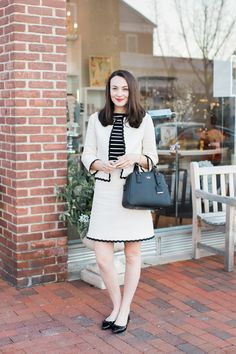 Kate spade scallops kate spade ♠ new york preppy winter outf Fall College Outfits, Preppy Outfits, Preppy Style, Girl Outfits, Summer Outfits, Fashionable Outfits, Country Outfits, School Outfits, Tweed Suit Women