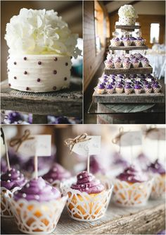 Purple wedding cupackes on a #DIY cupcake stand using old barn wood - what a great idea! Wedding at The Reserve at Bluebird Hill in Knoxville TN. Click to view the entire wedding!