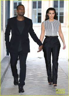 Kim Kardashian & Kanye West: Fashion Fun with Bar Refaeli!: Photo Kim Kardashian, Kanye West, and Bar Refaeli make their way through the streets of the City of Light on Tuesday (July in Paris, France. Estilo Kardashian, Kim Kardashian Kanye West, Kardashian Style, Kardashian Jenner, Kardashian Fashion, Kardashian Family, Kanye West Style, Kanye West And Kim, Brian Atwood