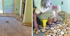Hän pilkkoo puut pieniin paloihin ja asettelee ne lattialle – lopputulos on häikäisevä