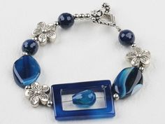 7.5 inches blue agate bracelet with toggle clasp.  $9.99   #jewelry #bracelet #turquoise #earrings #amethyst #turquoise earrings #turquoise bracelet #black agate #blue agate