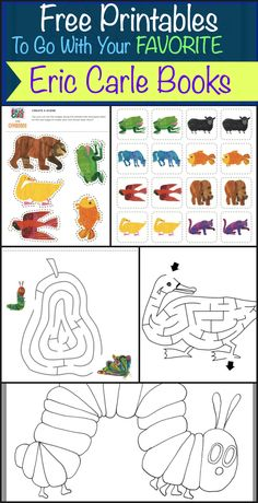 Eric Carle activities: Great ideas for making story time memorable with these fun activities! FREE printables to go with popular Eric Carle books. Preschool Literacy, Preschool Books, Literacy Activities, Activities For Kids, Therapy Activities, Brown Bear Activities, Preschool Centers, Math Games, Eric Carle