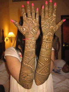 Bridal henna or mehndi designs.