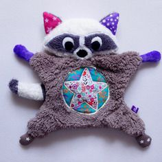 Peluche doudou raton laveur pour petite fille - girly raccoon - fait main
