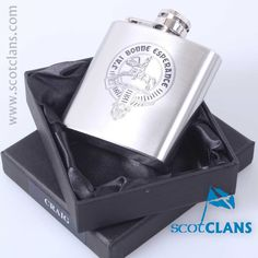 Craig Clan Crest Hip Flask. Free worldwide shipping available.