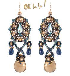 Sapphire, Champagne Quartz, , Dangle Drop Swarovski Crystal Earrings Beaded by Esther Marker