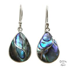 Fancy Small Abalone Droplet Earrings