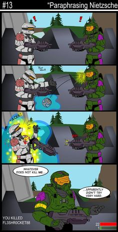 Another Halo Comic Strip Master Chief And Cortana, Halo Master Chief, Funny Gaming Memes, Funny Games, Fallout Wallpaper, Halo Funny, Halo Effect, Halo Armor, Video Game Logic