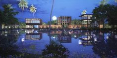 at night the pavilions are subtly lit up, appearing as floating lanterns  Waikiki Waterscape Resort, Vengurla - Architecture BRIO, India  #stilted #pavilions #wetland #resort