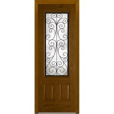 Milliken Millwork 36 in. x 96 in. Camelia Right-Hand 3/4 Lite 2-Panel Mediterranean Stained Fiberglass Oak Prehung Front Door Z009743R at The Home Depot - Mobile