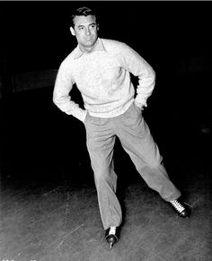 Cary Grant looks classy even while ice skating.