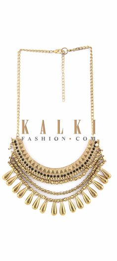 Buy Online from the link below. We ship worldwide (Free Shipping over US$100) Price-$29 Click Anywhere to Tag http://www.kalkifashion.com/gold-necklace-in-metal-enhanced-in-dangler-only-on-kalki.html