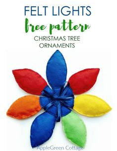 Felt Christmas Lights ornaments tutorial and Free PDF Sewing pattern. A perfect handmade gift idea and a beginner sewing project! Diy Christmas Lights, How To Make Christmas Tree, Cute Christmas Tree, Felt Christmas, Handmade Christmas, Christmas Tree Decorations, Christmas Ornaments, Christmas Crafts, Felt Ornaments