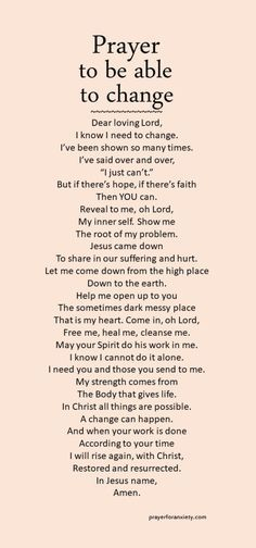 What's stopping you from changing? This prayer can help inspire you to change through God's help.