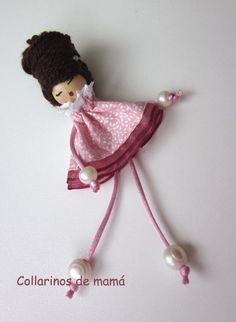 Doll brooch by AlexandraStanShop on Etsy – my siteDoll brooch made with leather, yarn, swarovsky crystals, and beads. You can wear it aș a brooch on your shirt or on your piese or if You want it can become a necklace, just let me know. Yarn Dolls, Felt Dolls, Fabric Dolls, Doll Crafts, Yarn Crafts, Bead Crafts, Tiny Dolls, Ooak Dolls, Ballerina Ornaments
