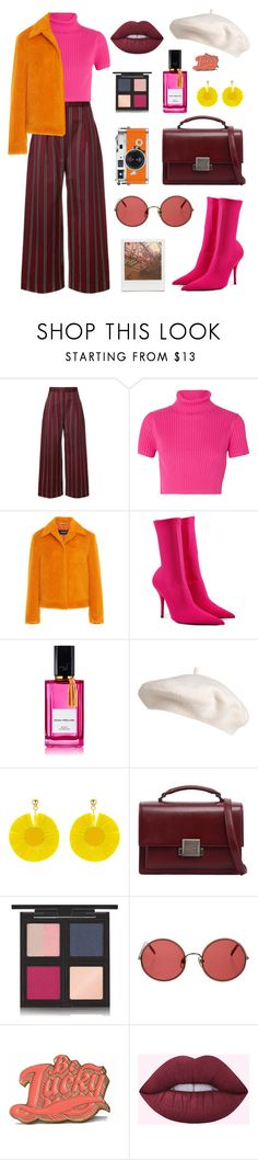 """Hot Pink and Burgundy"" by bechs on Polyvore featuring Solace, Staud, Balenciaga, Hermès, Diana Vreeland, Oscar de la Renta, Yves Saint Laurent, The Body Shop, Sunday Somewhere and Impossible Project"