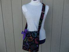 Hello Kitty Crossbody Novelty Bag In Black by OMGDesigns on Etsy