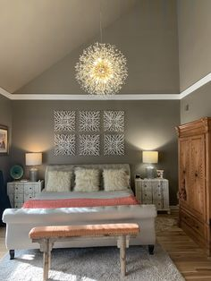 Dream Bedroom, Bedroom Wall, Bedroom Decor, Chandelier Pendant Lights, Pendant Lamp, Chandeliers, Dining Room Light Fixtures, Piano Room, Home Decor Accessories