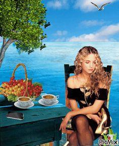 KΑΛΗΜΕΡΑ Coffee Images, Coffee Drinks, Good Morning, Beautiful Women, Animation, Gifs, Painting, Woman, Buen Dia