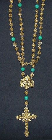 Turquoise and gold filigree antique rosary