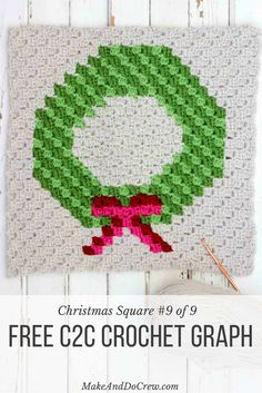 """The final corner to corner Christmas crochet pattern in this nine square series is a modern, monochromatic holiday wreath. Crochet all the squares for a festive Christmas c2c crochet afghan or choose your favorites to make throw pillows! Made with Lion Brand Vanna's Choice in """"Kelly Green,"""" """"Fern,"""" """"Scarlet,"""" """"Cranberry"""" and """"Linen."""""""