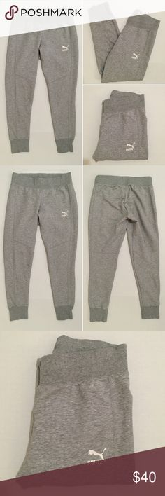 [Puma] women's athletic jogger sweatpants S [Puma] women's athletic jogger sweatpants S •listing •excellent pre-owned condition, worn once •light heather gray with screen logo •material tag removed, feels like cotton/polyester/spandex blend •elastic drawstring waistband •Puma jacket available separate listing •offers welcomed using the offer feature or bundle/bundle offer welcomed• Puma Pants Track Pants & Joggers