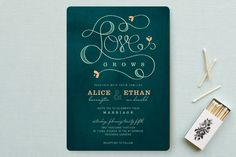 """Love Grows"" - Bold typographic, Hand Drawn Wedding Invitations in Teal by Aspacia Kusulas."