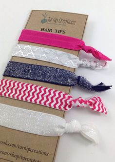 Hair Ties FOE Hot Pink, Navy, White Quatrefoil Silver Pony Tail Holder, Summer Accessory Elastic