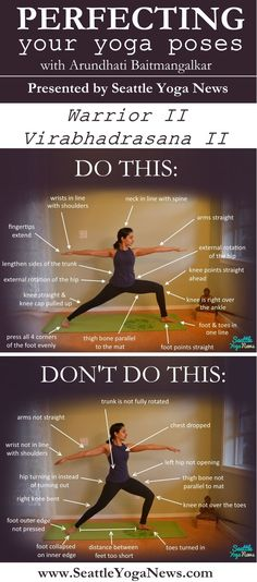 Looking to perfect your Warrior II yoga pose? Take a loo k at this Warrior II guide that visually explains what to do and what not to do in this yoga pose. Mat Yoga, Yoga Bewegungen, Yoga Pilates, Yoga Moves, Yoga Exercises, Vinyasa Yoga, Ashtanga Yoga, Kundalini Yoga, Yoga Mantras