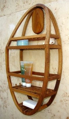 Teak wood shower caddy with alternative option for hanging than using the shower head.