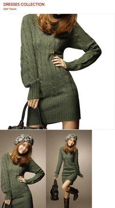 504c9eba816 New NEW WOMENS LONG SLEEVE WARM WINTER KNIT SLIM PLUS SIZE TUNIC SWEATER  DRESS-GREEN