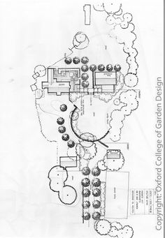 Country garden Plan with concealed drive formal planting and indoor swimming pool