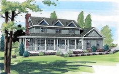 Country Farmhouse Southern Traditional House Plan 24404