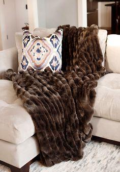 Designer Fur Fabric Faux Throws Throw Blanket