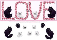Pink Roses Kitty Cats LOVE Decoupage DL Card Front on Craftsuprint - Add To Basket!
