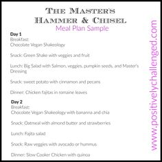 The Master's Hammer and Chisel - Week 1 Meal Plan.  Dairy Free. Using my portion control food containers. Click here to join the Test Group!