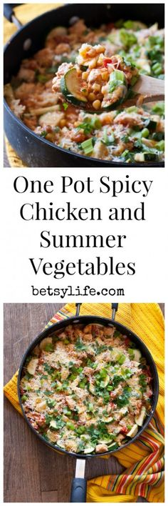 One Pot Spicy Chicken and Summer Vegetables Recipe. A healthy dinner with minimal prep and clean up. What's better than that?