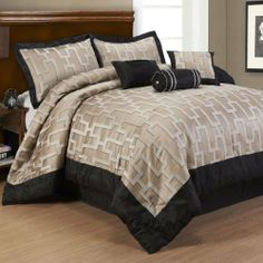 """Campton 7 Piece Comforter Set - California King Comforter Set by Anna's Linens. $111.99. Luxury 7 Piece Set to complete your bedroom. The faux silk collection will look great in any bedroom. Set Includes: 1 Comforter, 1 Bed Skirt, 2 Pillow Shams and 3 decorative pillows.  100% Polyester  Product Measurements:  Full - Comforter 80""""Wx90""""L, Bed Skirt 54""""Wx76""""L, Two Standard Shams 20""""Wx26""""L, Three Decorative Pillows (16""""Wx16""""L, 12""""Wx16""""L and 6""""Wx16""""L) Queen - Comforter..."""