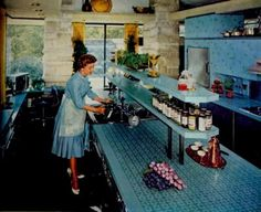 1960 custom designed kitchen of Cincinnati philanthropists and supporters of the arts J. Ralph and Patricia Corbett.  The design work of Frank Lloyd Wright and John de Koven Hill was an astounding feat. Accomplished entirely in Formica, which was  for the Corbett's and which was never available at retail, was the to-die-for kitchen of its day, featured prominently in House Beautiful of 1960.