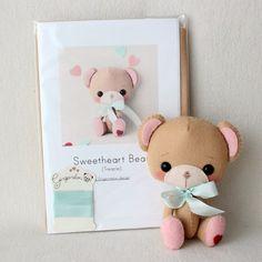 Treacle Sweetheart Bear Pattern Kit PURE Felts by Gingermelon
