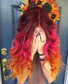 54 Crazy Pastel Hair Color Ideas For Unique Hairstyles - Beauty Tips Cute Hair Colors, Pretty Hair Color, Hair Dye Colors, Ombre Hair Color, Hair Color Dark, Color Red, Autumn Hair Colors, Fire Ombre Hair, Crazy Colour Hair Dye